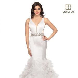 PROM mermaid style ivory dress is on sale